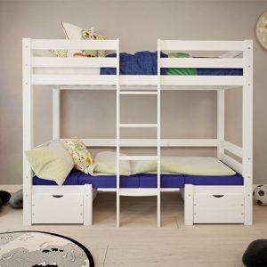 dla dzieci białe łóżko pietrowe