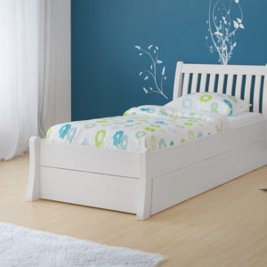 białe łóżko 90x200 z szufladą