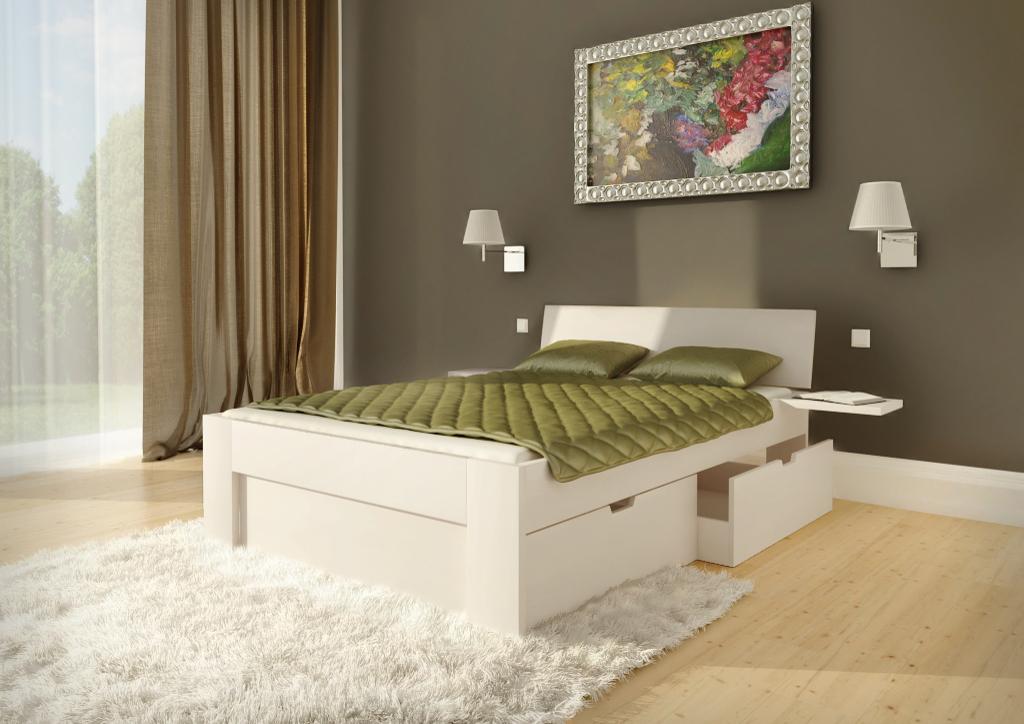 Białe łóżko Bukowe Ole