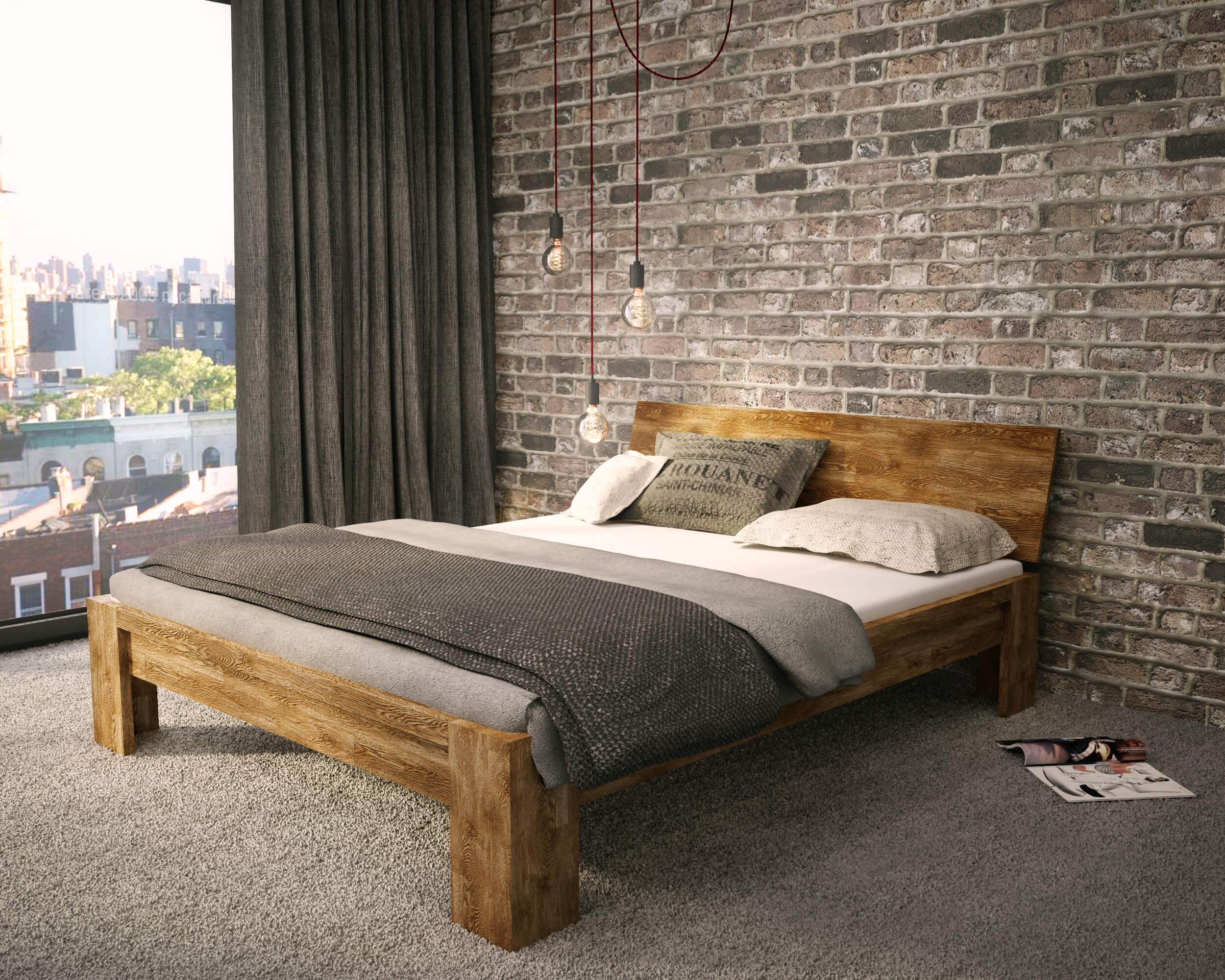 łóżko Dębowe Postarzane Rustical