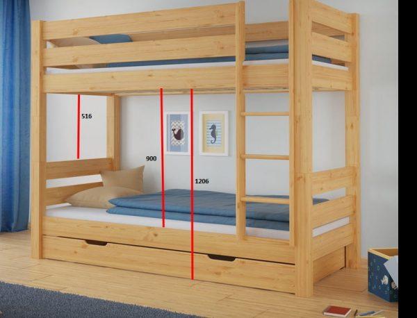 łózko pietrowe z dużą przestrzenią pomiędzy łóżkami
