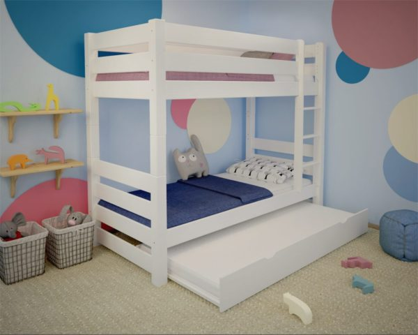 biale łóżko piętrowe dla 3 osób