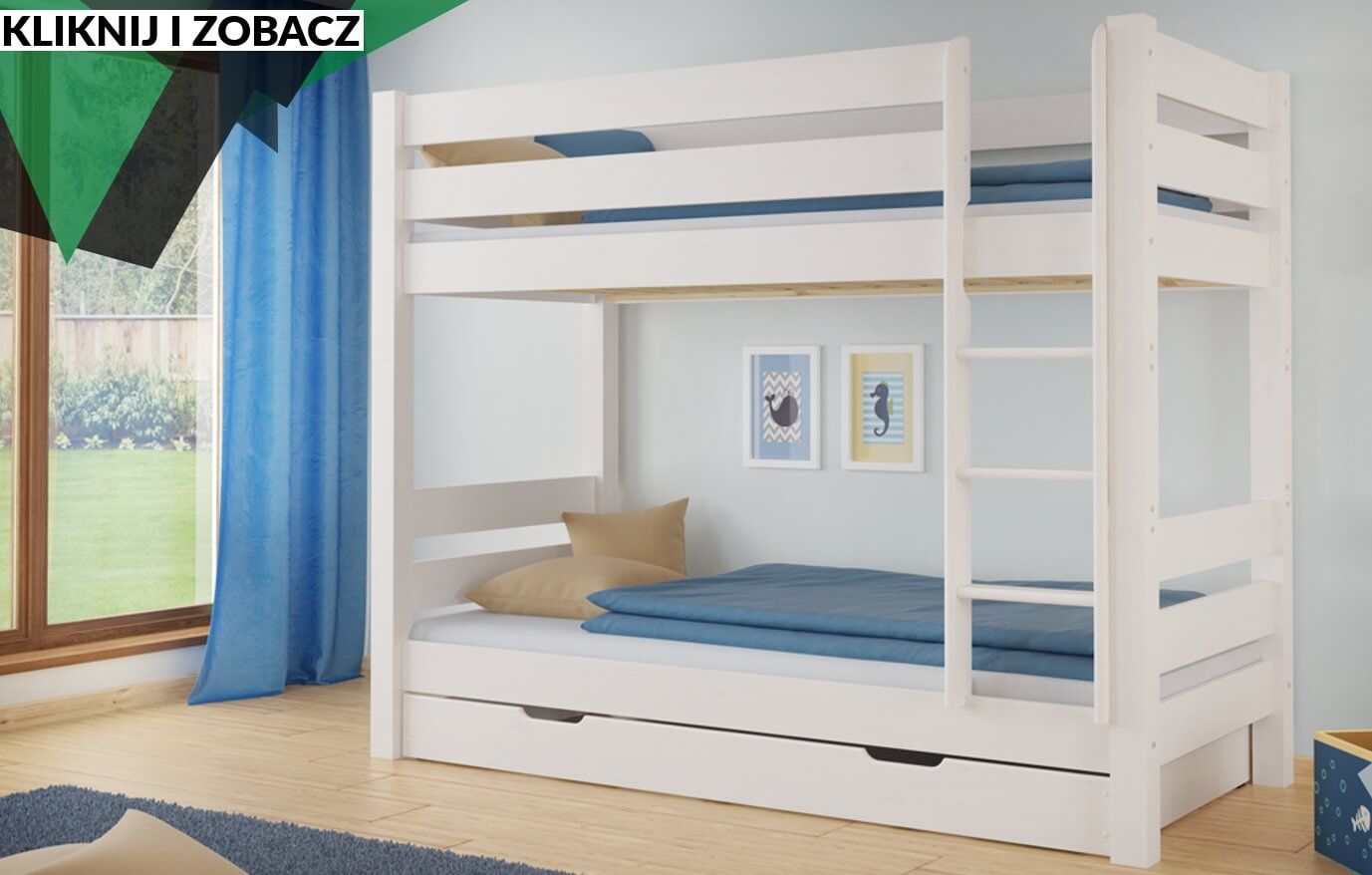 Białe łóżko Piętrowe Jan Producent Mebli Z Drewna