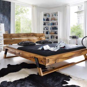 łóżko dębowe z belek