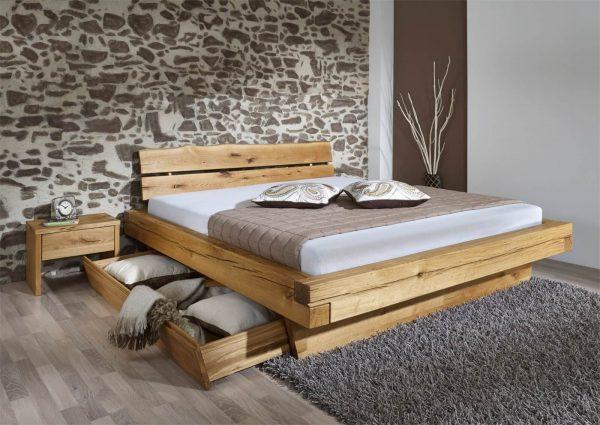 łóżko debowe z szufladami 180x200