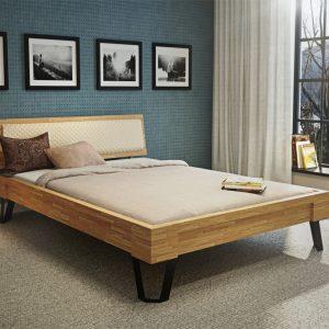łóżko drewno z metalem