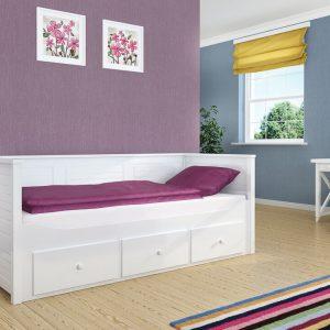 białe łożko z szufladami dla dziecka