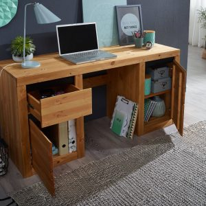 biurko drewniane w kolorze dębu