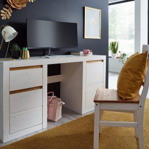 biurko białe oraz krzesło