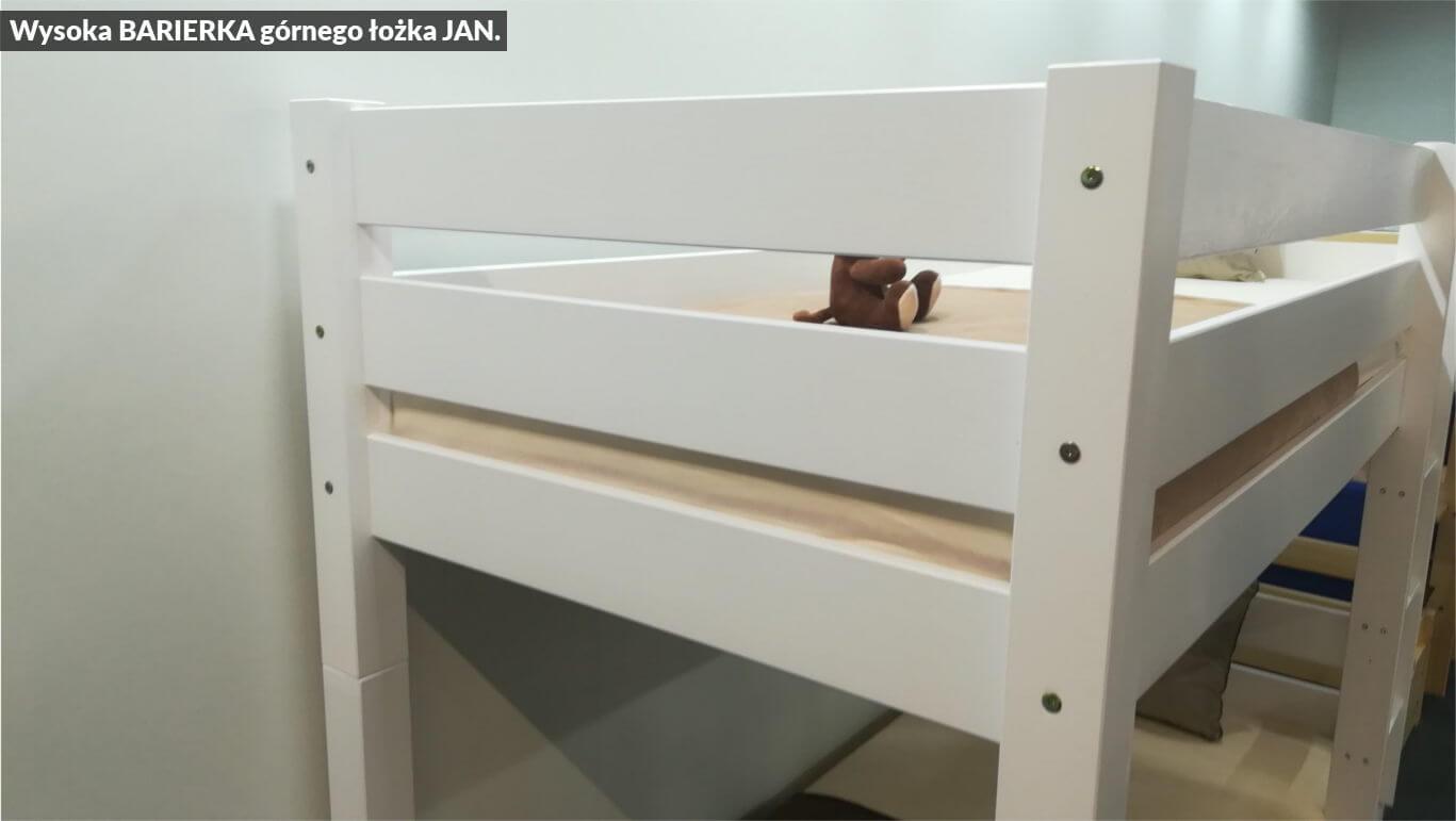 wysoka barierka łóżka piętrowego